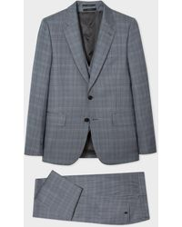 Paul Smith The Soho - Tailored-fit Slate Blue Prince Of Wales Check Three-piece Suit