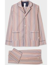 Paul Smith Signature Stripe Cotton Pyjama Set With Navy Trims - Multicolour