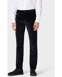 Paul Smith Pantalon Bleu Marine Foncé En Velours Coupe Fuseau