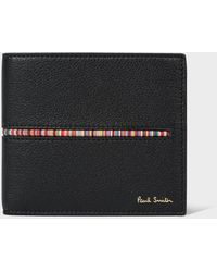 Paul Smith Black Leather Billfold Wallet With 'signature Stripe' Insert