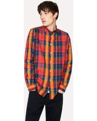 Paul Smith - Tailored-Fit Red Check Cotton Button-Down Shirt - Lyst