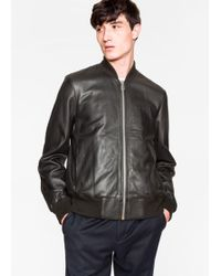 Paul Smith | Men's Black Leather Bomber Jacket | Lyst