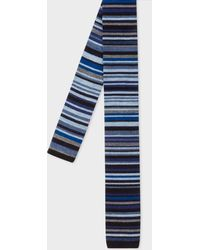 Paul Smith - Navy 'Signature Stripe' Knitted Wool Tie - Lyst