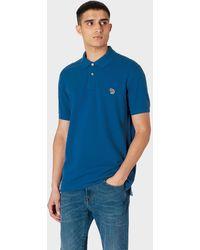 Paul Smith Polo Bleu Indigo Logo Zèbre En Coton Piqué Bio