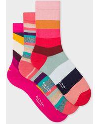Paul Smith Pink Mixed Stripe Socks Three Pack