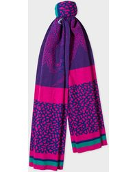 Paul Smith - Violet And Pink 'Dino' Wool Scarf - Lyst