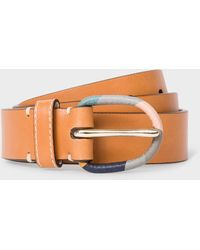 Paul Smith Tan Leather Belt With 'swirl' Buckle - Brown