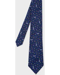 Paul Smith Navy Embroidered 'floral Dragonfly' Motif Silk Tie - Blue