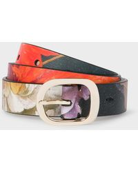 Paul Smith 'new Masters' Print Leather Gold Buckle Belt - Metallic