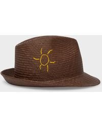 Paul Smith - Brown 'Smile' And 'Sun' Embroidered Panama Straw Hat - Lyst