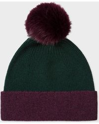 Paul Smith - Dark Green and Damson Pom-Pom Wool Hat - Lyst
