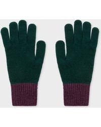 Paul Smith - Dark Green Wool Knitted Gloves - Lyst