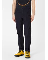 Paul Smith Slim-fit Navy Cotton Chinos With Subtle Stripe - Blue