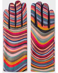 Paul Smith Swirl Print Leather Gloves - Multicolour
