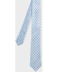 Paul Smith Blue Polka Dot Narrow Silk Tie