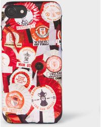 Paul Smith & Manchester United - 'vintage Rosette' Print Leather Iphone 6/6s/7/8 Case - Black