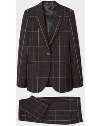 Paul Smith Black And Pink Windowpane Check Wool Suit