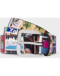 Paul Smith - 'Stamps' Print Leather Belt - Lyst