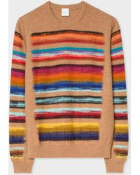 Paul Smith - Camel Wool-Blend Multi-Coloured Stripe Jumper - Lyst