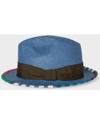 f0b3557a69c Paul Smith - Slate Blue Woven Straw Fedora Hat With Multi-coloured  Stitching - Lyst