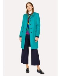 Paul Smith - Turquoise Wool And Cashmere-blend Epsom Coat - Lyst
