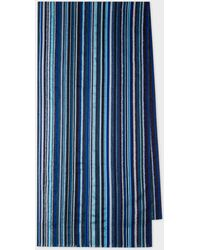 Paul Smith Blue Signature Stripe Textured Scarf