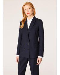 Paul Smith Blazer 'A Suit To Travel In' Croisé Bleu Marine Foncé En Laine