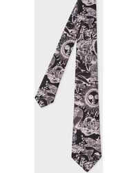Paul Smith - Men's Black 'psychedelic Sun' Print Narrow Silk Tie - Lyst