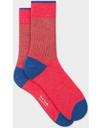 Paul Smith - Raspberry Socks With Ribbed Silver Detail - Lyst