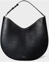 Paul Smith Black 'half Moon' Leather Hobo Bag