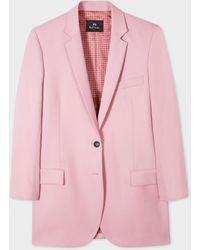 Paul Smith Boyfriend-fit Light Pink Wool-hopsack Longline Blazer