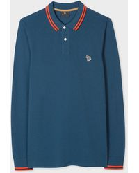 Paul Smith Slate Blue Cotton Zebra Logo Long-sleeve Polo Shirt With Collar Trims