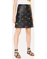 Paul Smith - Black Leather Button Down Skirt With 'Kyoto Floral' Embroidery - Lyst