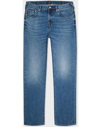 Paul Smith Tapered-fit Antique-wash 'soft Stretch' Jeans - Blue