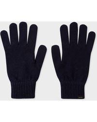 Paul Smith Dark Navy Cashmere And Merino Wool Gloves - Blue
