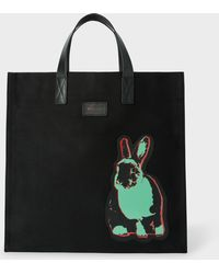 Paul Smith - 'Artful Lives' Patch Black Canvas Tote Bag - Lyst