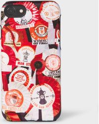 Paul Smith - & Manchester United - 'vintage Rosette' Print Leather Iphone 6/6s/7/8 Case - Lyst