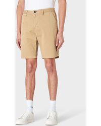 Paul Smith Camel Garment-dyed Stretch Pima-cotton Shorts - Natural