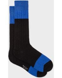 Paul Smith - Black Colour-Block Cable Knit Wool-Blend Socks - Lyst