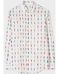 Paul Smith - Tailored-Fit White 'People' Print Cotton Shirt - Lyst