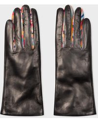 Paul Smith Black Leather 'concertina Swirl' Gloves