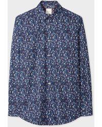 Paul Smith Classic-fit Navy 'vintage Floral' Print Cotton Shirt - Blue