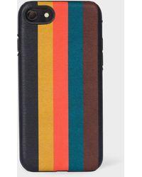 Paul Smith 'bright Stripe' Leather Iphone 7/8 Case - Multicolor