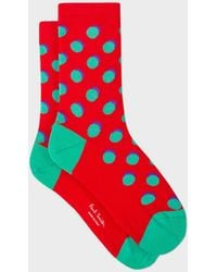 Paul Smith - Red Polka Dot Socks With Shadow - Lyst