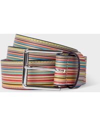Paul Smith Embossed Signature Stripe Leather Belt - Multicolour