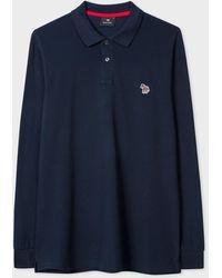 Paul Smith Navy Organic-cotton Zebra Logo Long-sleeve Polo Shirt - Blue