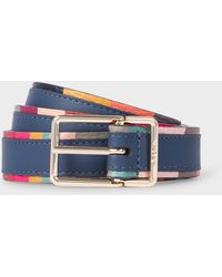 Paul Smith Slate Blue Leather Belt With 'swirl' Edge