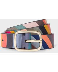 Paul Smith 'swirl' Print Leather Gold Buckle Belt - Multicolor
