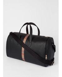 Paul Smith Black Leather 'signature Stripe' Holdall