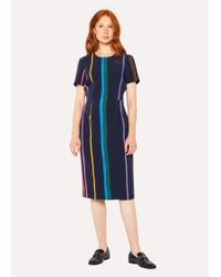 Paul Smith Navy 'brush Stripe' Print Shift Dress - Blue